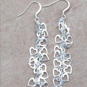 Jewelry - Sterling Silver 925 Heart Charm Dangle Earrings